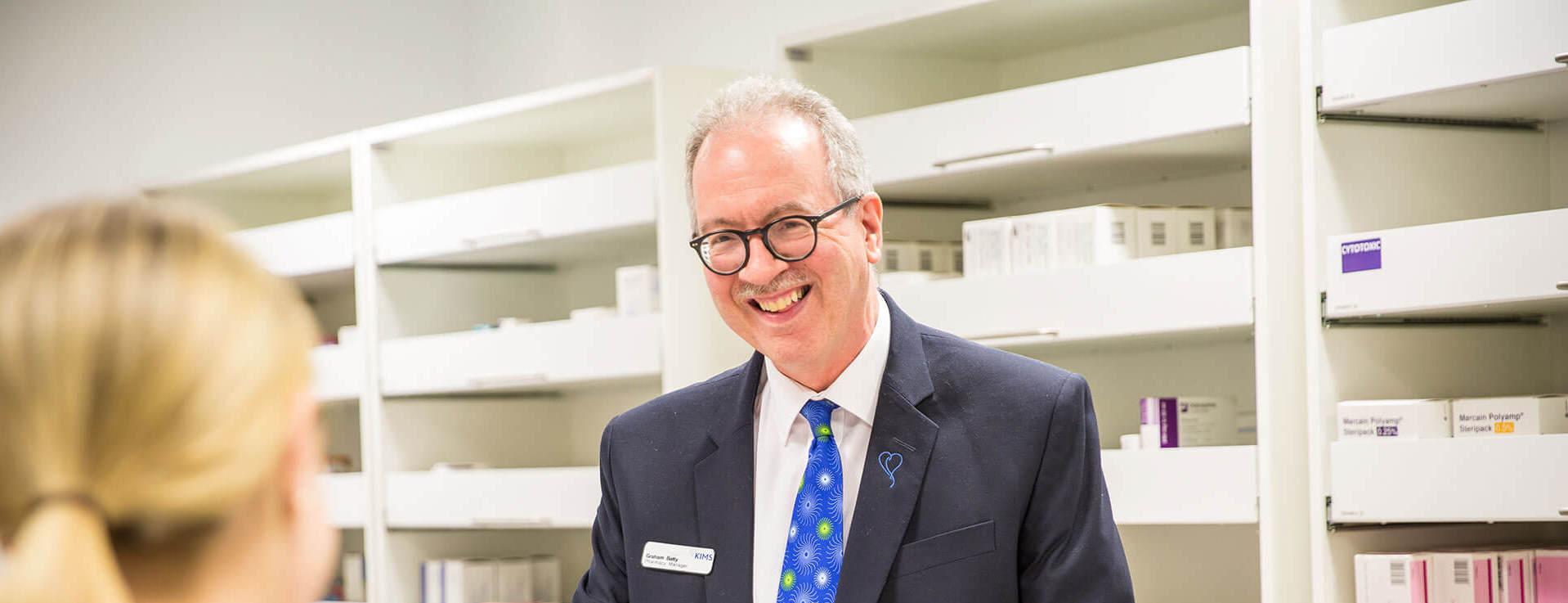 Graham pharmacy manager in the KIMS Hospital pharmacy